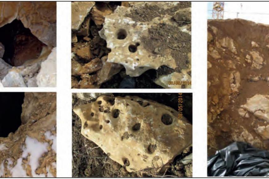 Zu sehen ist eine Collage aus fünf verschiedenen Bildern. Auf allen Bildern ist hellbraunes bis gelbliches, zum Teil löchriges Gestein zu erkennen.