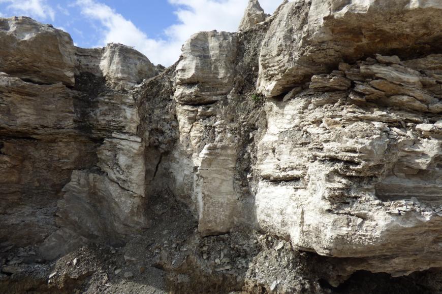 Zu sehen ist eine unebene hellgraue Felswand, an der vertikale, spaltenförmige Vertiefungen zu erkennen sind.