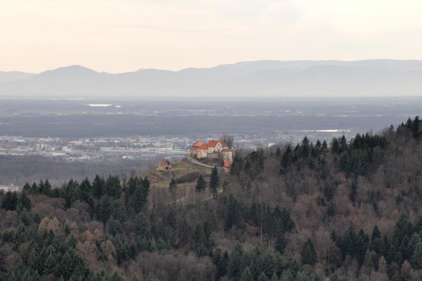 Blick von erhöhtem Standort auf einen nach rechts aufsteigenden, bewaldeten Berg. In der Bildmitte, auf einem freien Sporn, liegt eine noch erhaltene Burg. Im dunstigen Hintergrund sind eine zersiedelte Ebene sowie Bergrücken erkennbar.