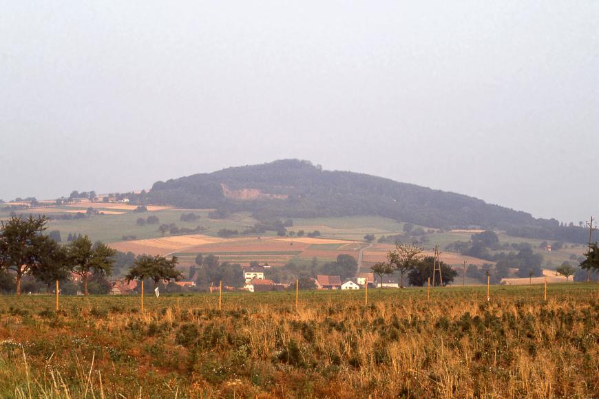 Blick über eingezäunte Felder im Vordergrund auf einen Berg, dessen Kuppe und rechte Seite bewaldet ist. Auf den übrigen Flächen des Berges verteilen sich Äcker. Im Wald links der Bildmitte, unterhalb der Bergkuppe, befindet sich ein Steinbruch.