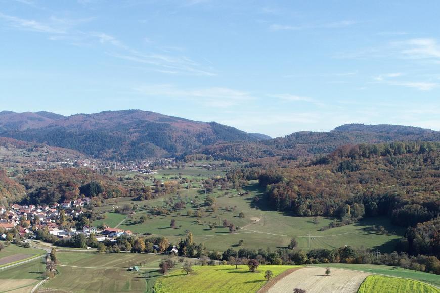 Von hoch oben blickt man über eine hügelige Landschaft mit Feldern, Wiesen, großen Waldflächen rechts und zwei Siedlungen links im Bild. Im Hintergrund bewaldete Berge.