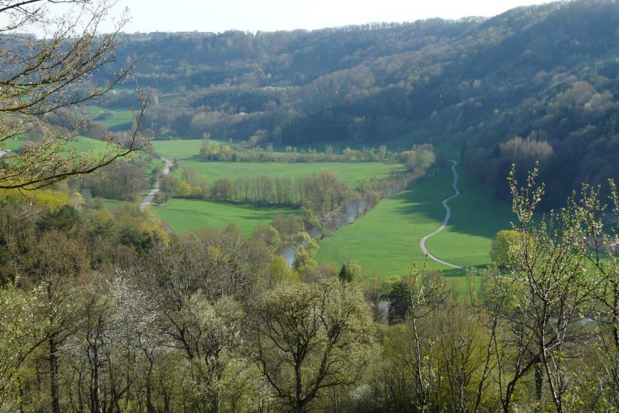 Über einer Baumreihe vorne sieht man auf eine weite grüne Ebene, in der sich ein Fluss Z-förmig von hinten links nach rechts vorne windet. Im Hintergrund und rechts steigen bewaldete Hänge auf.