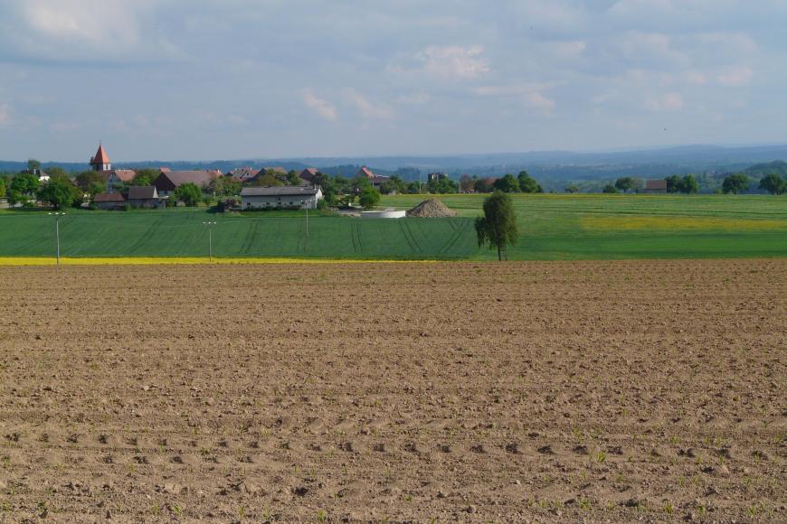 Der Blick geht über einen braunen, in Längsrichtung gefurchten Acker. Dahinter zeigt sich links leicht ansteigendes Grünland sowie eine Ortschaft. Rechts ist helles, flaches Grünland zu sehen. Im Hintergrund sind bewaldete Höhenzüge erkennbar.