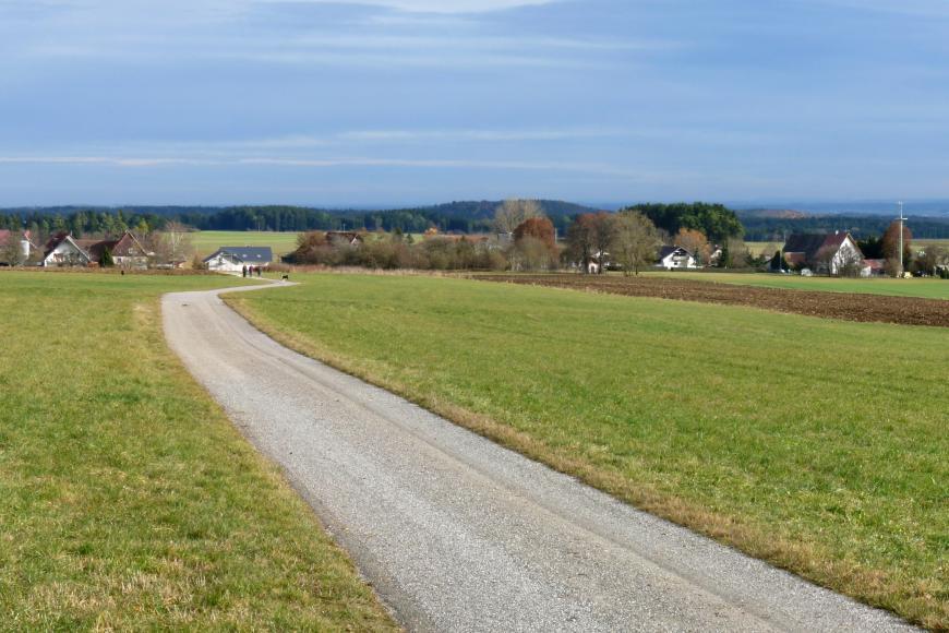 Von einem Fahrweg durchschnitten, breiten sich links und rechts Acker- und Grünlandflächen aus. Im Mittelgrund stehen Baum- und Häusergruppen; dahinter folgen weitere Nutzflächen, Waldstreifen, bewaldete Hochflächen und ganz rechts Berge.