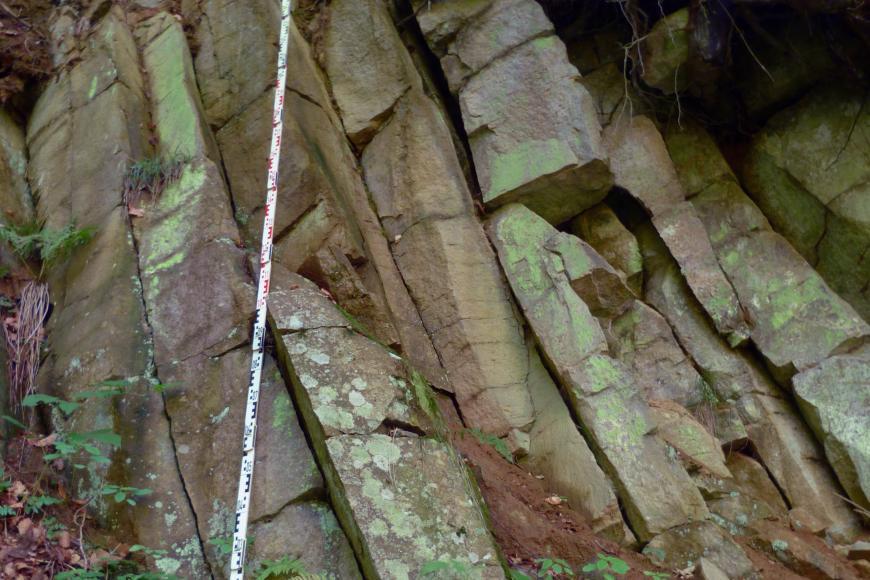 Aufschluss im Wald: Das Gestein ist dunkelrot mit Lila-Stich, teilweise grünlich angewittert und steht in großen Säulen an, welche leicht nach hinten links verkippt sind.