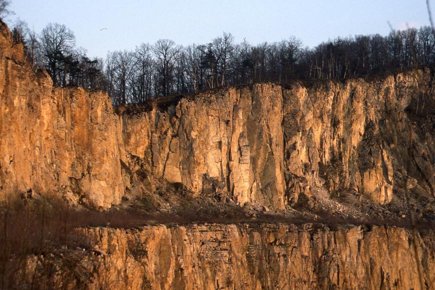 Blick auf eine Felswand aus gelbbraunem, in der Abendsonne leuchtendem Gestein. Über der Wand wachsen Bäume, die Wand spiegelt sich in einem davor befindlichen Gewässer.