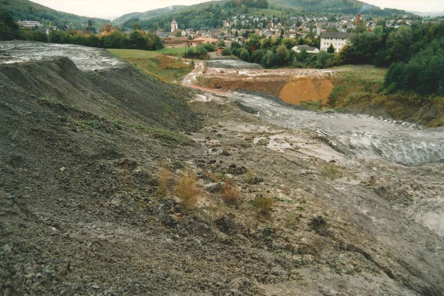 Im Vordergrund des Bildes ist eine ehemalige, teils schon wieder bewachsene Tongrube zu sehen. Im HIntergrund erkannt man eine Siedlung und dahinter einen bewaldeten Hügel.