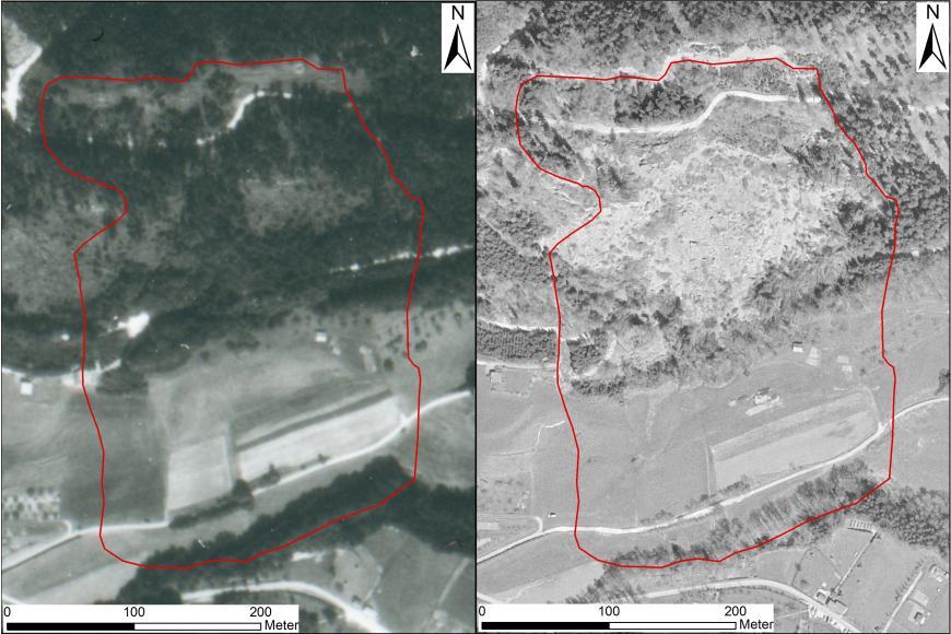 Zu sehen sind zwei Schwarzweißbilder, die beide eine Luftbildaufnahme vom gleichen Gelände zeigen. Das linke Bild zeigt einen komplett bewaldeten Hang, darunter Ackerflächen. Rechts fehlt ein Teil des Waldbestandes am Hang, große Steinblöcke liegen frei.