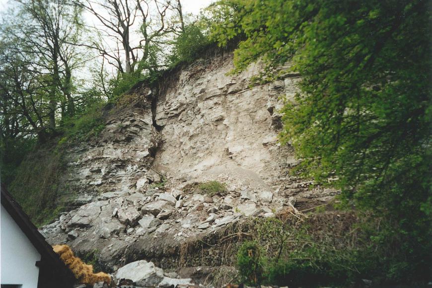 Im Vordergrund sind rechts ein Laubbaum und links ein Dachgiebel zu sehen. Dahinter befindet sich eine Felswand aus hellgrauem Gestein. Darunter liegt Lockermaterial bis Blockgröße.