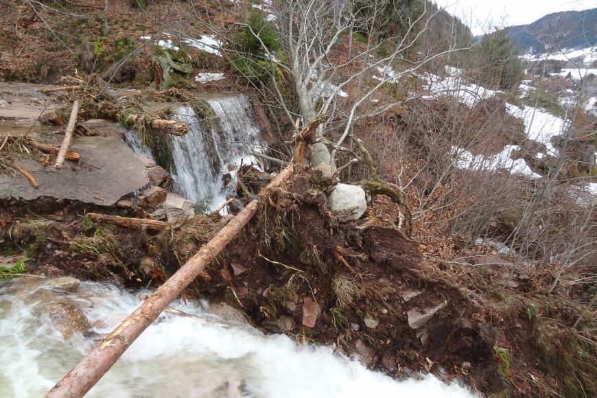 Im Vordergrund befindet sich ein stark angeschwollener Wasserlauf. Darüber ist aufgewühltes Erdreich, Gesteinsbrocken sowie ein entwurzelter Baum zu sehen. Im Hintergrund befindet sich eine Wehranlage, auf der einige mitgerissene Baumstämme liegen.