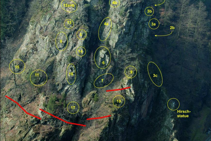 Zu sehen ist eine Felswand, die teilweise bewaldet ist und an der unten eine Straße verläuft. An der Felswand sind Punkte markiert, an denen sich kritische oder absturzgefährdete Bereiche befinden. Zusätzlich sind Steinschlagschutzzäune gekennzeichnet.
