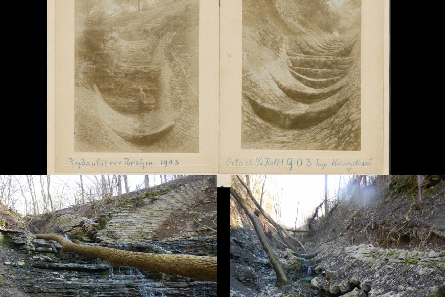 Das Bild ist dreigeteilt. In der oberen Hälfte sind Zeichnungen von zwei verschiedenen Bachbetten zu sehen, wobei das rechte deutlich mehr Stufen aufweist. Unten links ist ein intakter Wildbach zu sehen, rechts derselbe Bach nach einem Sturzbachereignis.