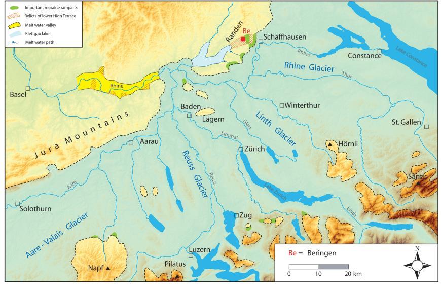 Blick auf eine farbige Landkarte, die die vermutete maximale Eisausdehnung während der Riß-Kaltzeit in der Schweiz zeigt, zwischen Schwarzwald, Bodensee und Schweizer Alpen.