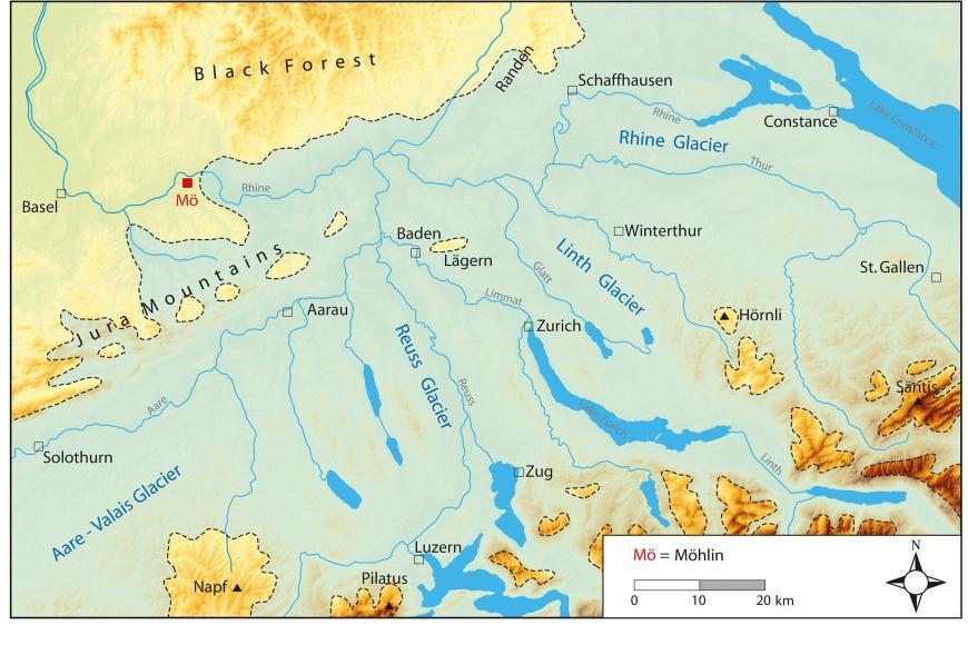 Blick auf eine farbige Landkarte, die die vermutete Eisausdehnung während der Hoßkirch-Kaltzeit in der Schweiz zeigt, zwischen Schwarzwald, Bodensee und Schweizer Alpen.