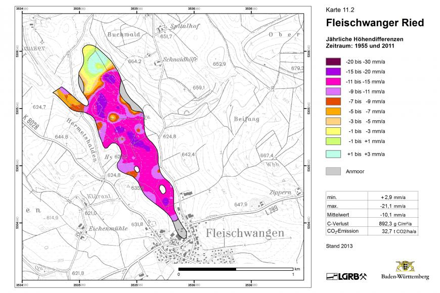 Das Bild zeigt eine Karte mit dem lila eingefärbten Moorschwund im Fleischwanger Ried, Lkr. Ravensburg.