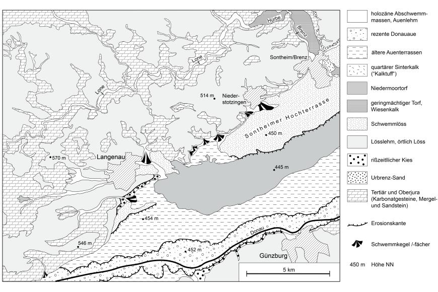 Schwarzweiße Übersichtskarte des Donautals bei Langenau mit Geologie und Geomorphologie. Eingezeichnet sind auch Erosionskanten und Schwemmfächer.