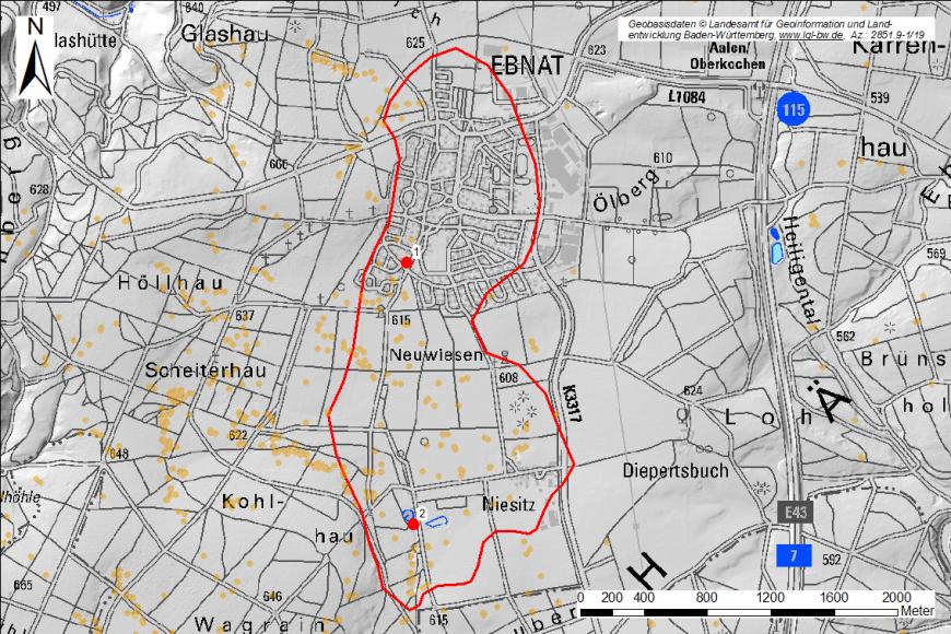Die Grafik zeigt einen Kartenausschnitt mit dem rot umrandeten Bereich der Ebnater Karstwanne sowie orange gekennzeichneten Verkarstungsstrukturen.