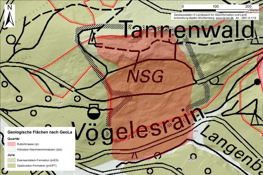 Grün eingefärbter Kartenausschnitt, der Geologische Flächen im Umfeld einer Hangrutschung zeigt. Die Rutschung selbst (in einem Naturschutzgebiet) ist als rote Fläche dargestellt.