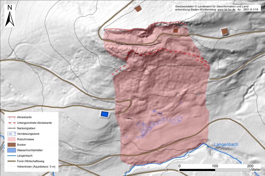 Ausschnitt aus einer digitalen Karte mit modelliertem Gelände und farbig abgegrenzter Hangrutschung.