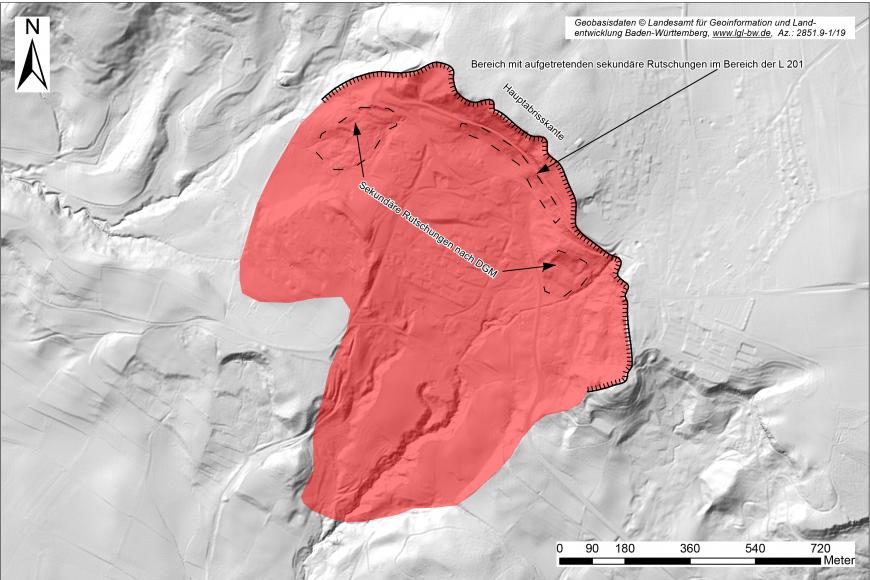 Digitale Geländekarte mit modellierter Oberfläche (hellgrau) und eingezeichneter Rutschungsfläche (rot) bei Heiligenberg.