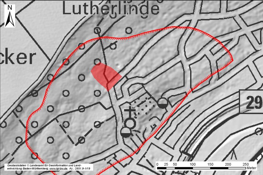 Kartenausschnitt mit rot umrandetem Bereich einer Hangrutschung.