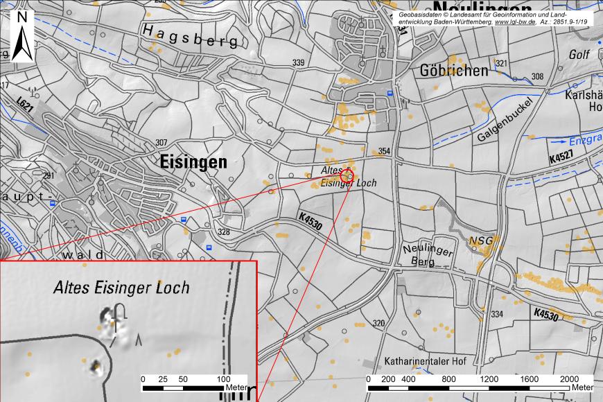 Digitale Geländekarte von Eisingen und Umgebung. Hervorgehoben ist die Lage der Eisinger Löcher (Vergrößerung am linken Bildrand).