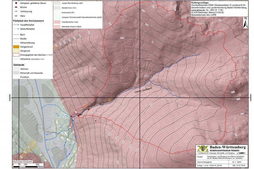 Farbiger, dreidimensionaler Übersichtsplan mit Geländemodell und Höhenlinien. Eingezeichnet ist das Einzugsgebiet des Oberen Großbachs bei Menzenschwand-Hinterdorf, die Fließpfade des Hochwassers sowie der Hangabbruch im Januar 2018.
