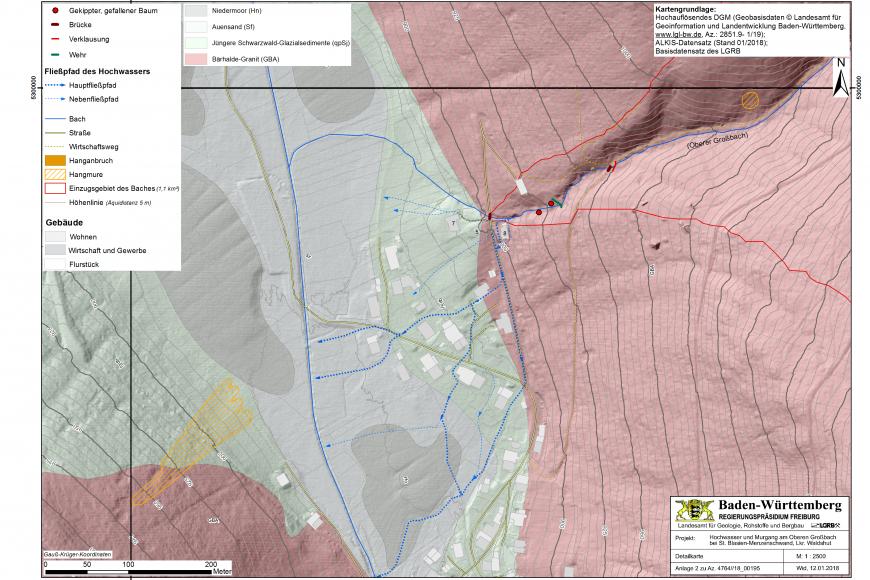Farbige, dreidimensionale Karte mit Geländemodell und Höhenlinien. Dargestellt ist der Murgang bei Menzenschwand-Hinterdorf vom Januar 2018.