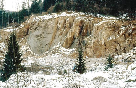 Das Bild zeigt einen Steinbruch im Winter, mit Schnee auf der Kuppe und den Abraumhalden. Die hellbraunen Gesteinsschichten verlaufen hier senkrecht, mit Klüften und Nischen. Dahinter steht Wald.