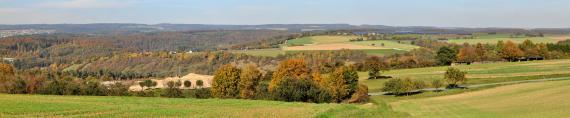 Auf diesem Panoramabild sind vorwiegend landwirtschaftlich genutzte Flächen – durchsetzt von Waldgebieten – zu sehen. Aber auch ein Steinbruch links unten sowie ein langgestreckter Hügel mit Brachflächen dahinter sind erkennbar.