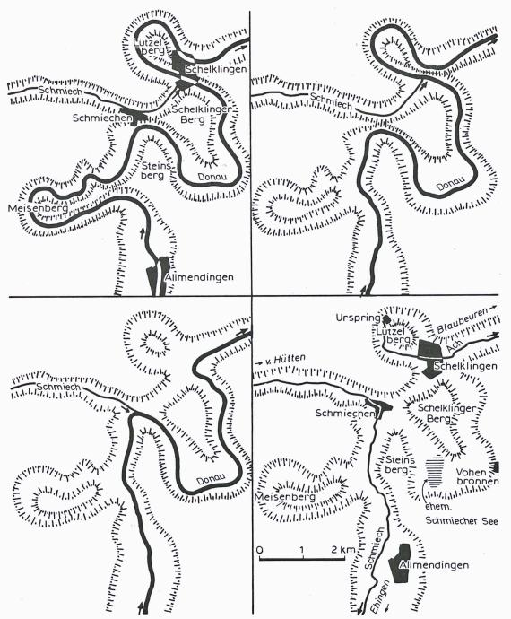 Vier verschiedene Grafikbilder in Schwarzweiß zeigen den sich verändernden Lauf der Donau zwischen Allmendingen und Schelklingen zur Zeit des Mittelpleistozäns.