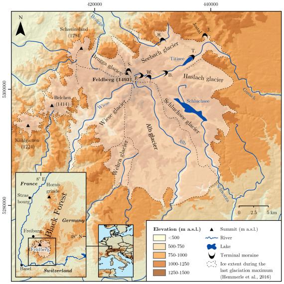 Aufsicht auf eine farbige Reliefkarte, das den Südschwarzwald mit eiszeitlicher Vergletscherung zeigt.