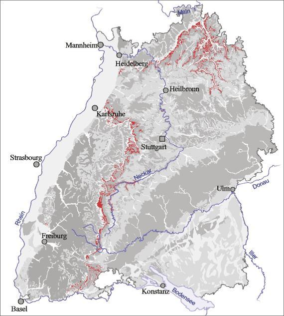 Blick auf eine Übersichtskarte von Baden-Württemberg. Farbig abgesetzt (rot) ist der Ausstrich des Mittleren Muschelkalks.