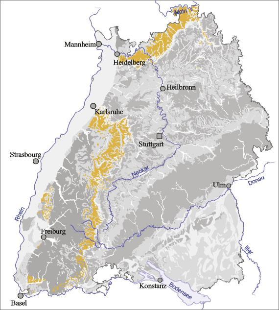 Blick auf eine Übersichtskarte von Baden-Württemberg. Farbig abgesetzt (gelb) ist der Ausstrich des Oberen Buntsandsteins.