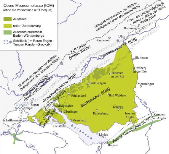Blick auf eine Übersichtskarte, die den Ausstrich der Oberen Meeresmolasse in Baden-Württemberg und außerhalb in unterschiedlichen Farben darstellt.