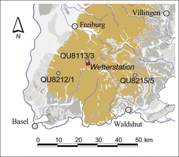 Blick auf den vergrößerten Ausschnitt einer Übersichtskarte vom südlichen Landesteil Baden-Württembergs. Eingezeichnet ist die Lage mehrerer Kristallin-Quellen im Raum Freiburg-Basel-Waldshut.