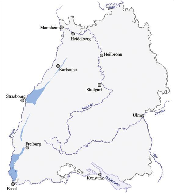 Blick auf eine Übersichtskarte von Baden-Württemberg mit farbig dargestellter Verbreitung des Oberjura in keltischer Fazies im Oberrheingrabens.