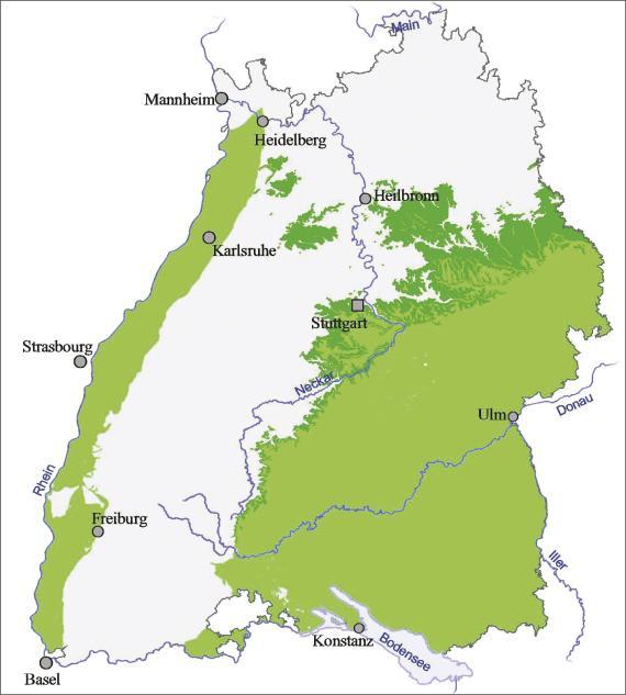 Blick auf eine Übersichtskarte von Baden-Württemberg. Farbig abgesetzt (grün) ist der Ausstrich und die Verbreitung von oberem Mittelkeuper und Oberkeuper im östlichen Landesteil sowie am Oberrhein.