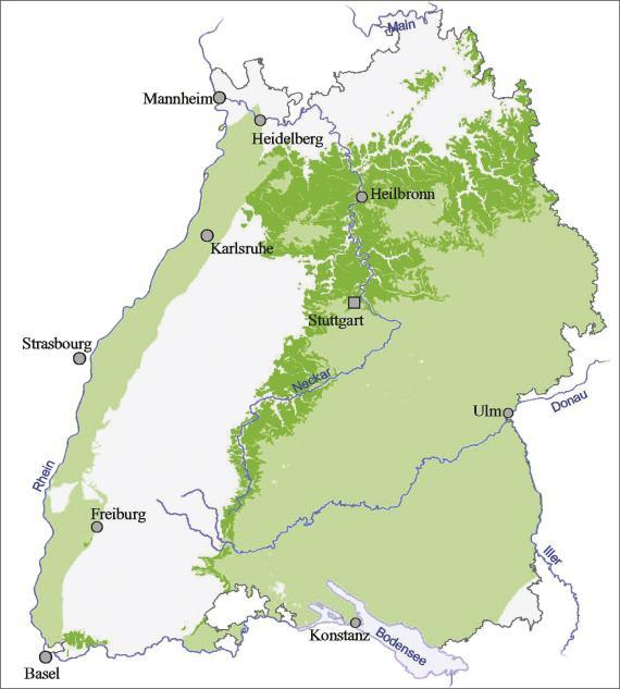 Blick auf eine Übersichtskarte von Baden-Württemberg. Farbig abgesetzt (grün) ist der Ausstrich und die Verbreitung von Unterkeuper und Grabfeld-Formation im nördlichen und östlichen Landesteil sowie am Oberrhein.
