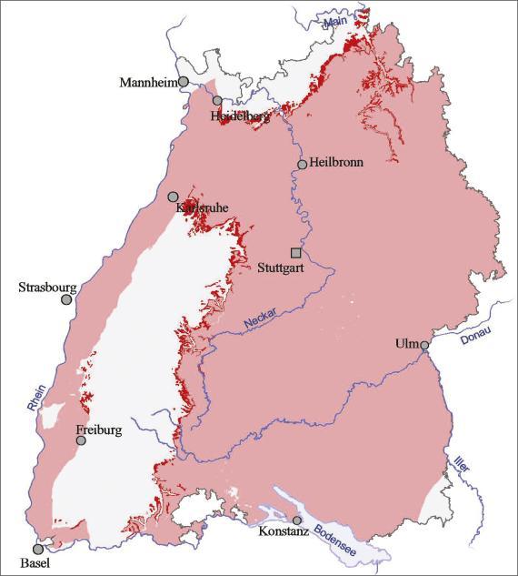 Blick auf eine Übersichtskarte von Baden-Württemberg. Farbig abgesetzt (rot) ist der Ausstrich und die Verbreitung des Unteren Muschelkalks.