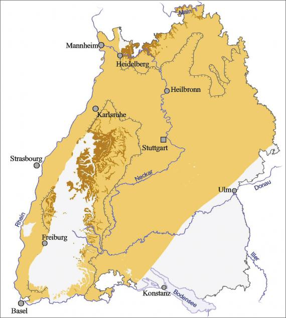 Blick auf eine Übersichtskarte von Baden-Württemberg. Farbig abgesetzt (hellbraun) ist der Ausstrich und die Verbreitung von Unterem und Mittlerem Buntsandstein.