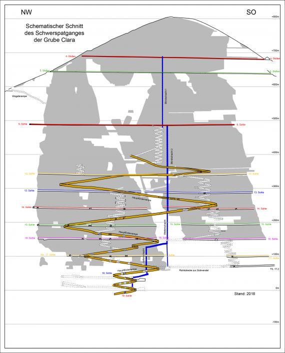 Schematische Schnittzeichnung durch die Grube Clara mit Schwerspatgang. Eingezeichnet sind außerdem Stollen, Sohlen, die Hauptförderrampe und Blindschächte.