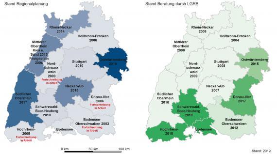Gezeigt werden zwei Karten von Baden-Württemberg mit dem Stand der Regionalplanung (blauer Farben, links) und der Beratung durch das LGRB (grüne Farben, rechts) in Bezug zur Rohstoffgewinnung.