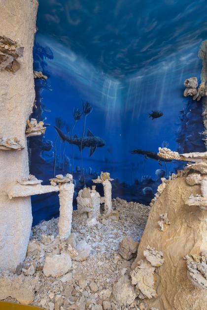 Blick auf nachgebildete bleiche Felsriffe mit Korallen und Schwämmen. Im Hintergrund ist eine blaue Unterwasserwelt aufgemalt, mit urzeitlichen Pflanzen und Tieren.