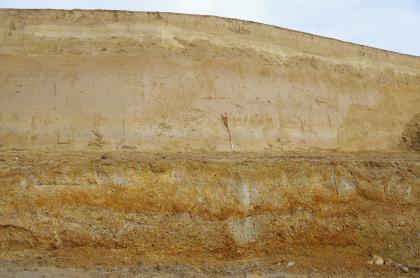 Aufschlusswand aus hellbeigen bis braun-orangen Schichten. In der oberen Hälfte ist ein mächtige helle Schicht zu sehen, in der unteren Hälfte eine dunklere und zwei orangene Schichten.