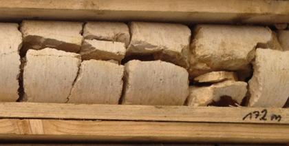 Blick auf rötlich graue Gesteinsbruchstücke eines Bohrkerns. Das Gestein ist gerundet und liegt in einer Holzkiste.