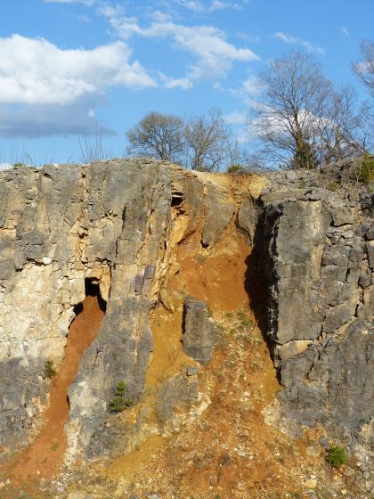 Das Bild zeigt eine graue Steinbruchwand, in dessen Mitte rötlich braunes, abgerutschtes Bodenmaterial zu Tage tritt.