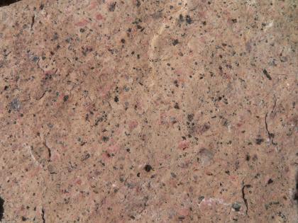 Nahaufnahme einer rötlich braunen bis grauen Gesteinsoberfläche mit zahlreichen dunklen Einsprenglingen.