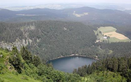 Blick von hoch oben über einen bewaldeten Steilhang auf einen tief unten liegenden, rechteckigen blauen See. Der See ist von Wald und angrenzenden bewaldeten Bergen umgeben. Links stechen Felsgrate durch den Wald, rechts ist eine freie Fläche mit Äckern.