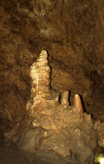 Vor dem Hintergrund einer dunkelbraunen Höhlendecke steht ein von Licht erhellter, vom Boden emporwachsender größerer Tropfstein.